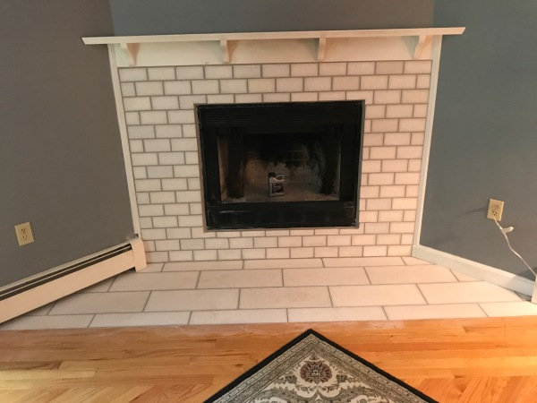 Marble tile fireplace AFTER